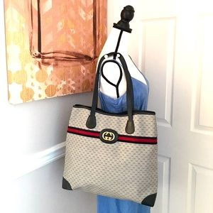 Authentic Gucci navy and grey monogram large tote